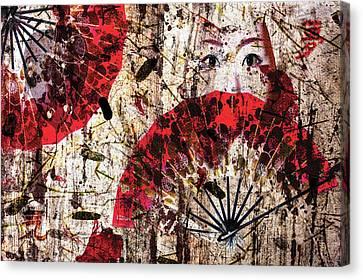Geisha Grunge Canvas Print by Paula Ayers