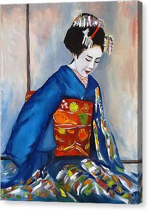 Geisha In Blue Kimono Canvas Print