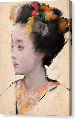 Geisha In Yellow Canvas Print by H James Hoff