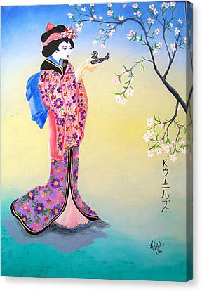 Geisha With Bird Canvas Print