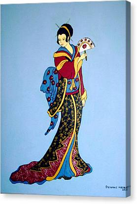 Canvas Print featuring the painting Geisha With Fan by Stephanie Moore