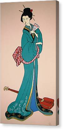 Canvas Print featuring the painting Geisha With Guitar by Stephanie Moore