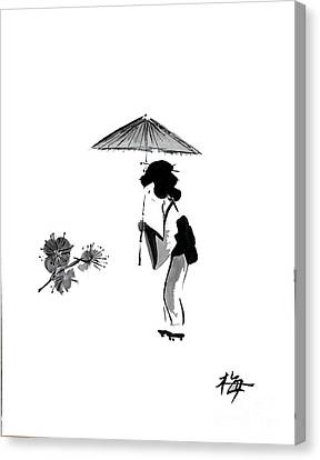 Geisha With Parasol Canvas Print by Sibby S