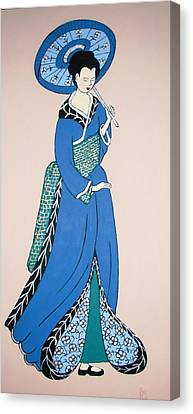 Canvas Print featuring the painting Geisha With Parasol by Stephanie Moore
