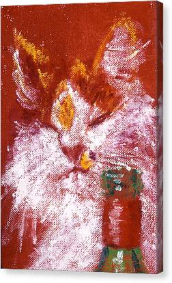 Red Cat Wine Canvas Print - Gemma With Wine by LB Zaftig