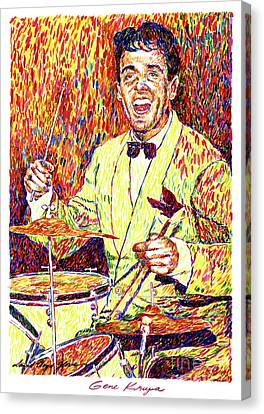 Drummer Canvas Print - Gene Krupa The Drummer by David Lloyd Glover