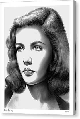 Gene Tierney Canvas Print by Greg Joens