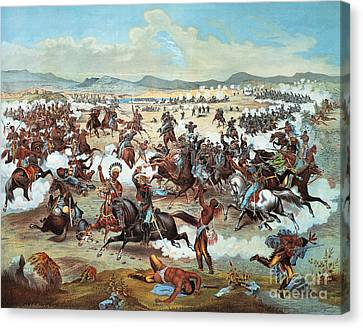 Little Big Horn Canvas Print - General Custer's Last Stand At Battle Of Little Bighorn, June 25, 1876 by Feodor Fuchs