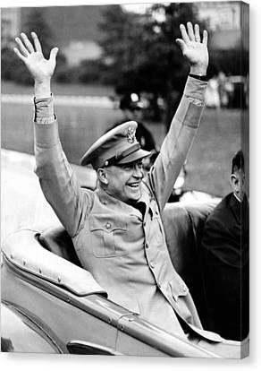 General Dwight Eisenhower Raises Both Canvas Print by Everett