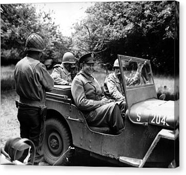General Eisenhower In A Jeep Canvas Print by War Is Hell Store