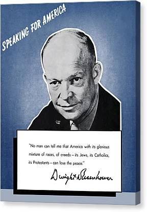 General Eisenhower Speaking For America Canvas Print by War Is Hell Store