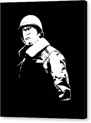 General George Patton - Black And White Canvas Print by War Is Hell Store