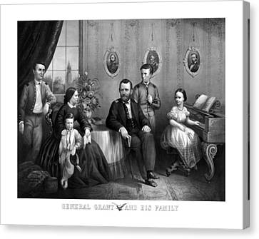 Canvas Print featuring the mixed media General Grant And His Family by War Is Hell Store