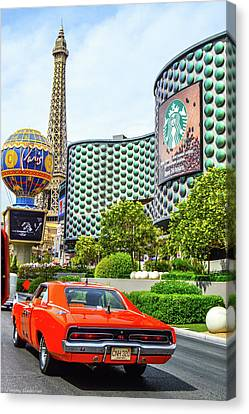 General Lee On The Vegas Strip Canvas Print by Tommy Anderson