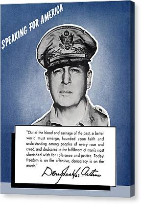 General Macarthur Speaking For America Canvas Print by War Is Hell Store