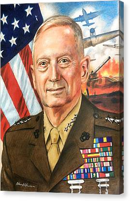 General Mattis Portrait Canvas Print by Robert Korhonen