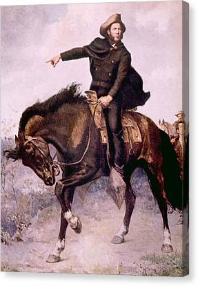 General Sam Houston At The Battle Canvas Print by Everett