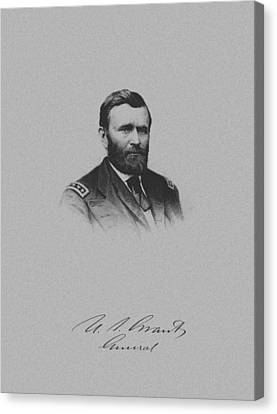 General Ulysses Grant And His Signature Canvas Print by War Is Hell Store