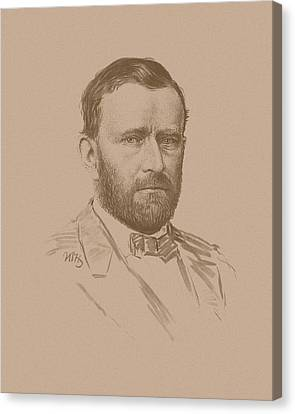 Canvas Print featuring the mixed media General Ulysses S Grant by War Is Hell Store