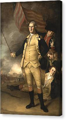 General Washington At The Battle Of Princeton Canvas Print by War Is Hell Store
