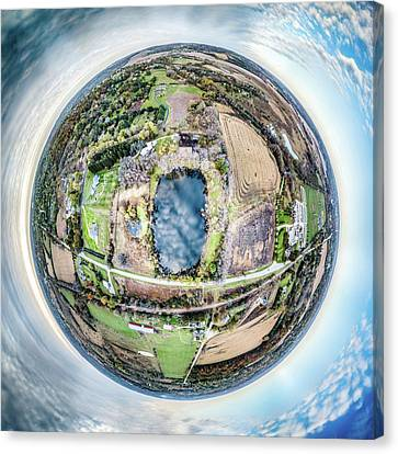 Canvas Print featuring the photograph Genesee Pond Little Planet by Randy Scherkenbach