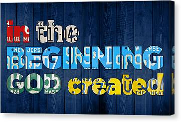 Genesis 1 1 In The Beginning God Created Bible Verse Recycled Vintage License Plate Art Canvas Print by Design Turnpike