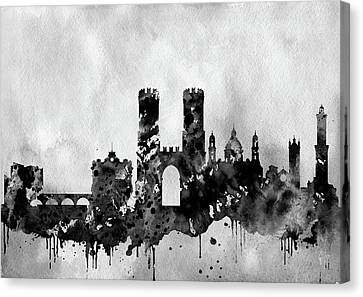 Genoa Canvas Print - Genoa Skyline-black by Erzebet S