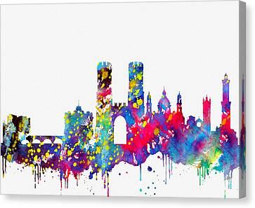Genoa Canvas Print - Genoa Skyline-colorful by Erzebet S