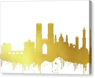 Genoa Canvas Print - Genoa Skyline-gold II by Erzebet S