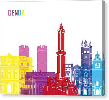 Genoa Skyline Pop Canvas Print