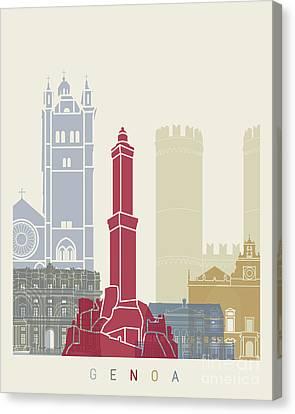 Genoa Skyline Poster Canvas Print