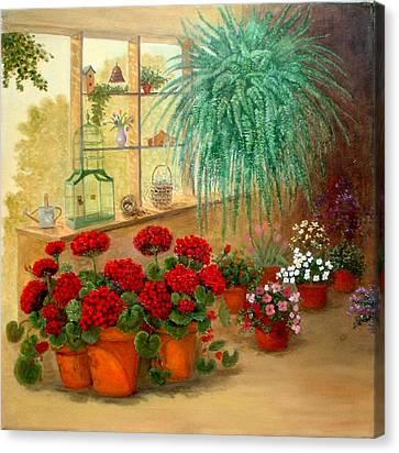 Gen's Green Room Canvas Print by Jeanene Stein
