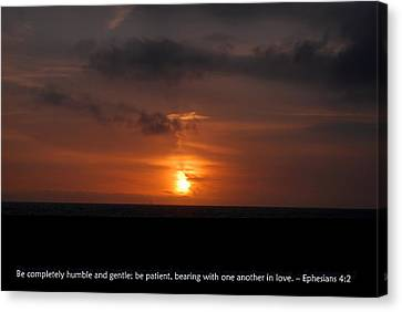 Canvas Print featuring the photograph Gentle Sunset Of Love With Ephesians 4-2 Scripture by Matt Harang