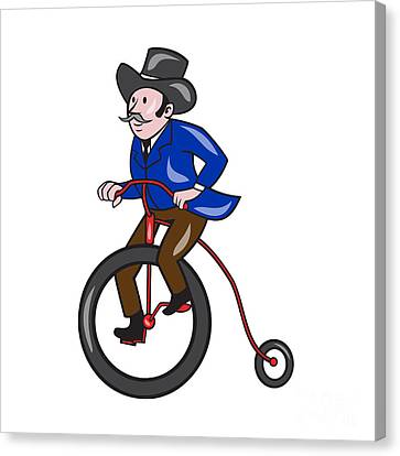 Gentleman Riding Penny-farthing Cartoon Canvas Print