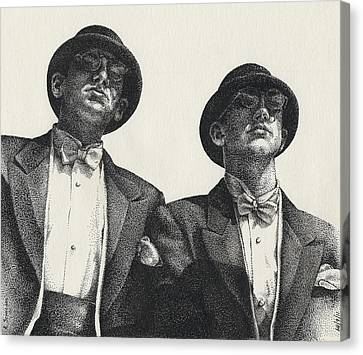 Stippling Canvas Print - Gents by Amy S Turner
