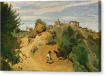 Genzano Canvas Print by Jean-Baptiste-Camille Corot