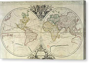 Geo-hydrographic Mappamonde Canvas Print by French School