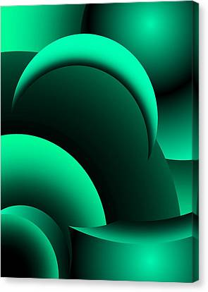 Geometric Abstract In Green Canvas Print by David Lane