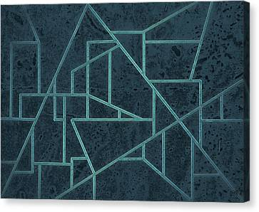 Geometric Abstraction In Blue Canvas Print