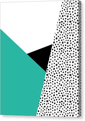 Geometric Modern Triangles With Spots Canvas Print by Rachel Follett