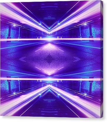Geometric Street Night Light Pink Purple Neon Edition  Canvas Print