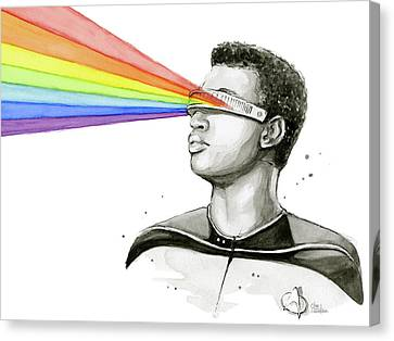 Geordi Sees The Rainbow Canvas Print by Olga Shvartsur