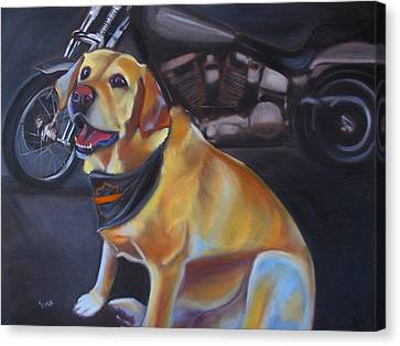 George And The Harley Canvas Print by Kaytee Esser