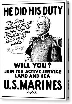 George Dewey - Us Marines Recruiting Canvas Print