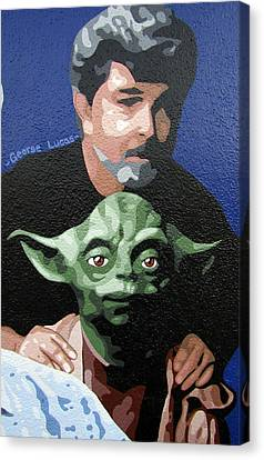 George Lucas With Yoda Canvas Print by Roberto Valdes Sanchez
