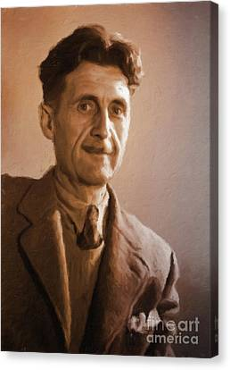 George Orwell, Literary Legend By Mary Bassett Canvas Print by Mary Bassett