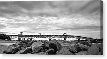 George P. Coleman Memorial Bridge In Black And White Canvas Print by Deborah Schultz