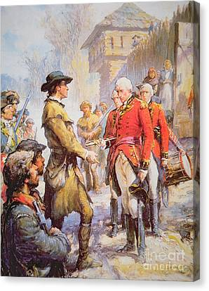George Rogers Clark Accepts The Surrender Of British Commander Henry Hamilton At Fort Sackville Canvas Print by Newell Convers Wyeth