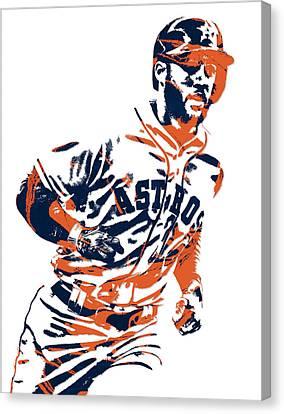 Houston Astros Canvas Print - George Springer Houston Astros Pixel Art 2 by Joe Hamilton