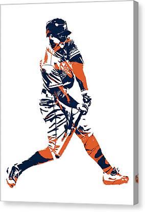 Houston Astros Canvas Print - George Springer Houston Astros Pixel Art 3 by Joe Hamilton